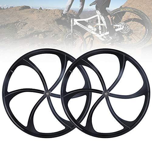 26' MTB Bike Mag Wheel Set Front&Rear Bicycle Bike Wheel Set 6-Spoke Rims Disc Brake Set 8/9/10 Speed Gear (Black)