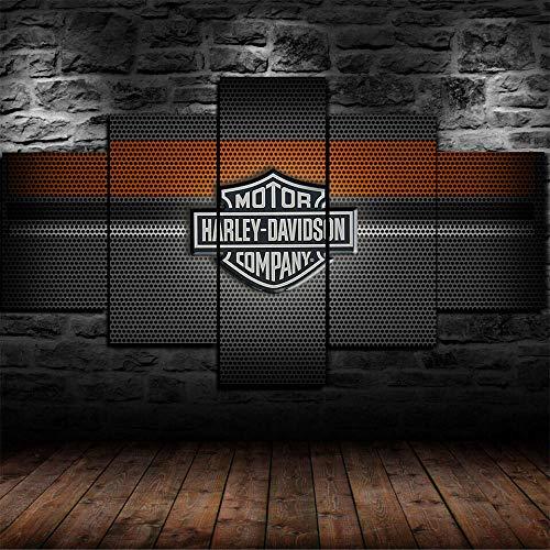 FGHJKOO 5 Teilig Leinwandbilder Bild auf Leinwand/Harley-Davidson Motorräder/Vlies Wandbild Kunstdruck Wanddeko Wand Kunstdruck Malerei, Mit Rahmen-Größe:M/W=150Cm,H=80Cm