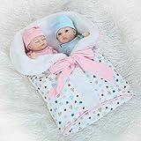 Muñecas Reborn, Simulación Rebirth Twin Baby Palm Dolls Casa de Juego Juguetes de baño Accesorios de Entrenamiento para futuras Madres 26 Cm