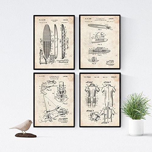 Nacnic Vintage - Pack de 4 Láminas con Patentes de Surf. Set de Posters con inventos y Patentes Antiguas. Elije el Color Que Más te guste. Impreso en Papel de 250 Gramos