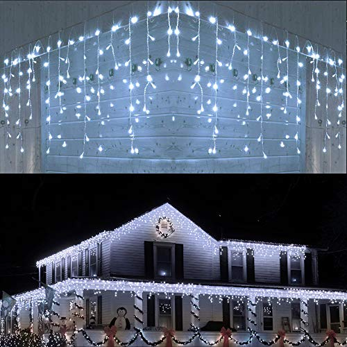 Joomer LED Icicle Lights,400 LED 39.4Ft 8 Modes with 80 Drops,Icicle Fairy Lights with Timer Function, Waterproof Connectable Lights for Outdoor ,Holiday, Christmas, Wedding Decorations (White)