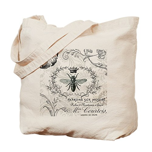 CafePress Vintage French Shabby Chic Queen Bee Collage Tote Natural Canvas Tote Bag Reusable Shopping Bag