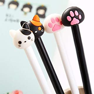 MoO1deer Gel Pens, Medium Point (0.5mm), Cute Cat Paw Ink Gel Pen Writing Marker Student Office Stationery Gift, 2Pcs Whit...