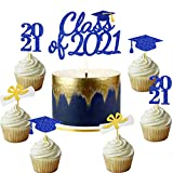 Blue Graduation Cake Cupcake Toppers Class of 2021 Gold Navy Blue...