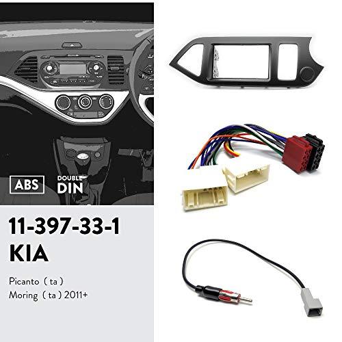 UGAR 11-397 Dubbele DIN radiofrontplaat dashinstallatie fascieset + autoradio-adapter + radioantenne-adapter voor KIA Picanto (TA), Morning (TA) 2011+