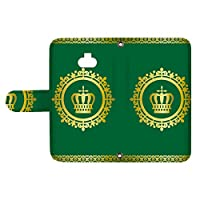 スマQ Xperia 8 SOV42 国内生産 カード スマホケース 手帳型 SONY ソニー エクスペリア エイト 【E.グリーン】 王冠とレース シンプル ami_vd-0248