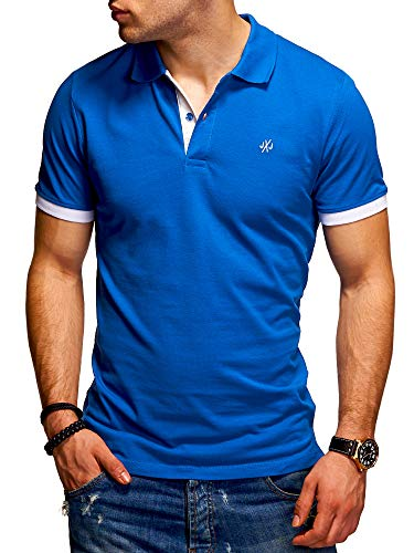 JACK & JONES Herren Poloshirt Polohemd Kurzarmshirt (L, Classic Blue/White)