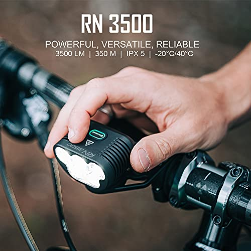 Olight RN 3500 Rechargeable Bike Front Light Max Output of 3500 Lumens Powered by 7.2V 5200 mAh Battery Pack, IPX5 Waterproof Cycling Headlight for MTB Riding and Trail Crossing