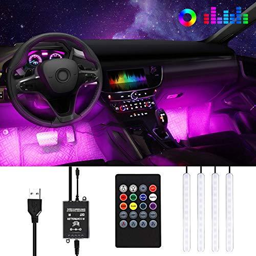 Anykuu Striscia LED Auto LED Neon Auto Interni Impermeabile 4 Strisce LED per Auto 8 Colori Controllo Remoto e Suono Funzione Alimentato da USB