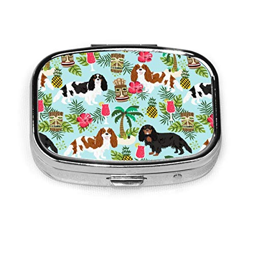 Pill Container Medicine Box Metal Pill Box Travel Pill Decorative Case to Hold Vitamins/Supplements for Purse/Pocket,Cavalier King Charles Spaniel Tiki Tropical Blenheim Light Blue