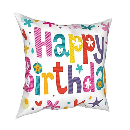 Cap Hat Birthday Decorations Natural Garden Themed Design with Daisies Cheerful Mood Hearts Stars Multicolor 12'X12' 16'X16' 18'X18' 20'X20' Pillow- No Inserts Included