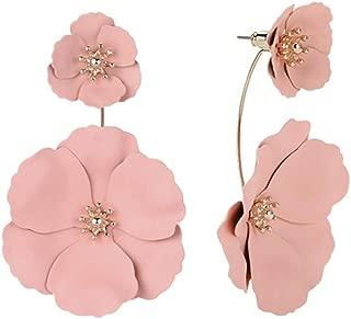 Dual Layer Flower Petal Tiered Earrings Fashion Metal matte Earrings,Pierced Garden Party Drop Dangle Ear Stud Earrings Jewelry for Women Girls
