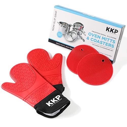 Kool Kitchen Pros Guantes para Horno de Silicona Rojos y Salvamanteles de Silicona - No Látex - para Cocinar y Hornear, Manopla y BBQ Guantes Resistentes al Calor y Salvamanteles para Ollas Calientes