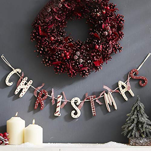 Christmas Wooden Garland Red White Vintage Country Style Decoration