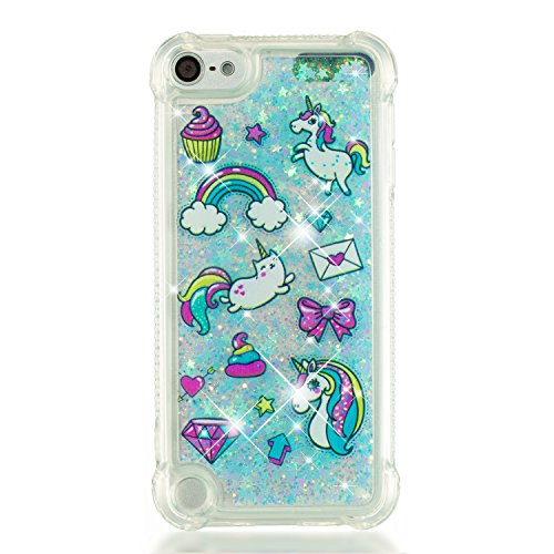 Leton Coque ipod Touch 6 Liquide Paillette Silicone Transparente Protection Housse ipod Touch 5 Bling Case Étui Glitter Sparkle Strass Brillant Quicksands Bumper Licorne Rainbow Motif Cover