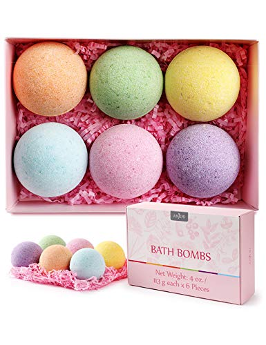 Bath Bombs Gift Set, Anjou 6 Pack Natural Essential Oils Spa Bath Fizzies for Moisturizing Dry Skin, Bubble Baths, Pure Natural Essential Oils Spa Bath, for Birthday Day Christmas Gifts idea for Girl