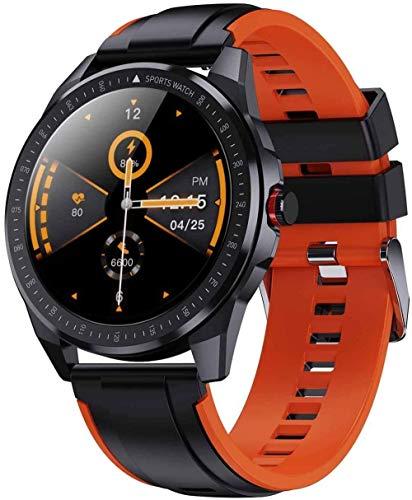 DHTOMC Reloj inteligente 1.3 pulgadas Full Touch Recordatorio de llamada podómetro pulsera IP68 impermeable Bluetooth llamada reloj - Negro y Naranja