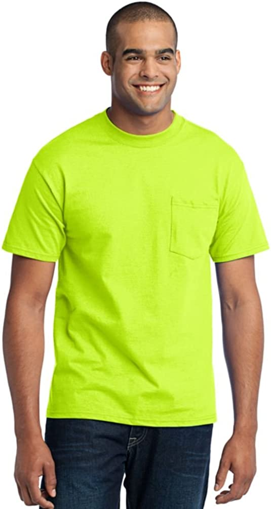 Port & Company Tall 50/50 Cotton/Poly T-Shirt with Pocket-LT (Safety Green)
