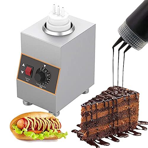 MNSSRN Calentador de Salsa de Comida eléctrica Comercial, Mermelada multifunción para el Calentador de Fondue de Queso de Chocolate con 1-3 Botellas de Salsa de compresión,1