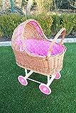Marcus Puppenwagen aus Weide mit Kissen und Decke + Überraschung Weidenwagen Kinderspielzeug