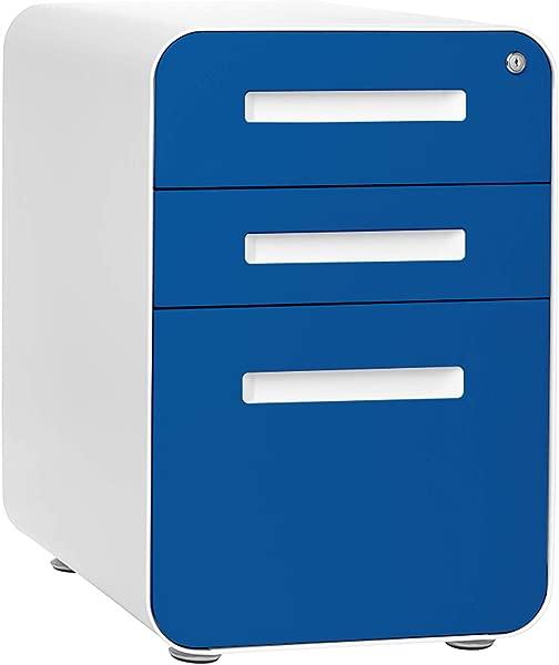 Stockpile 3 Drawer Mobile File Cabinet Commercial Grade Pre Assembled Blue Faceplate