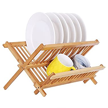 SONGMICS Bamboo Wood Dish Drying Rack 16 Slot Collapsible Dish Cup Holder Air Drying Utensil Drainer for Kitchen UKAB907N
