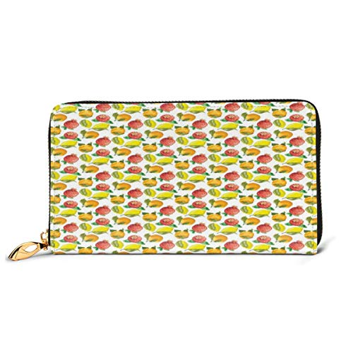 Women's Long Leather Card Holder Purse Zipper Buckle Elegant Clutch Wallet, Vitamin C Pattern of Seasonal Orange Pomegranate Lemon,Sleek and Slim Travel Purse