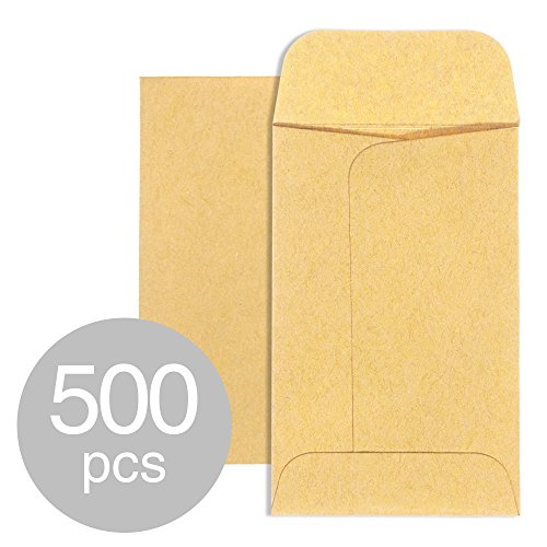 Acko #1 Coin and Small Parts Envelopes 2.25x 3.5 Brown Kraft Envelopes with Gummed Flap for Home and Garden (2.25x3.5)