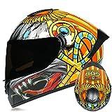 Dgtyui Casco integrale da corsa invernale caldo casco da moto bicolore casco sportivo completamente sfoderabile e lavabile - b6 XS