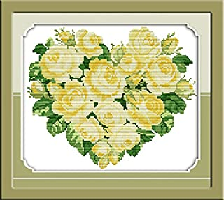 Stamped Cross Stitch Kits 14CT DIY Needlework Painting Craft Needlepoint Pattern Embroidery Design Embroidery (Rose Heart(3) Yellow 32×28CM)