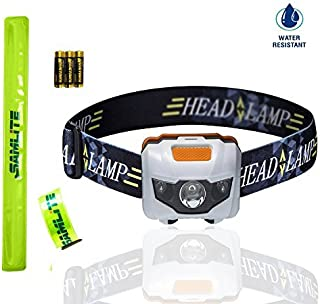 BEST LED Headlamp, 4 Modes, Bright White Light With Red Light, Super Bright, Water Resistant, Perfect For Kids & Adults, Get 2 Free Wristband Reflector, 3AAA Batteries Included (WHITE/ORANGE)- SAMLITE