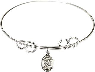 DiamondJewelryNY Eye Hook Bangle Bracelet with a Holy Communion Charm.