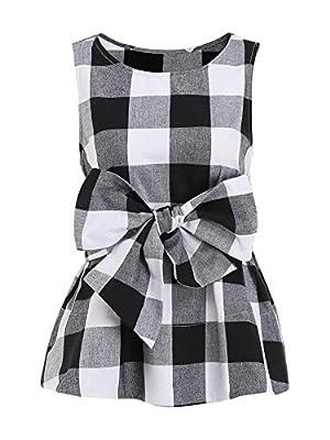 WDIRARA Women's Sleeveless Belted Checkered Shell Top Blouse