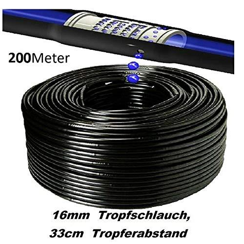 16mm Tropfschlauch Perlschlauch Gartenbewässerung Tropfrohr 16 mm (200 Meter) Tropfbewässerung Gartenschlauch