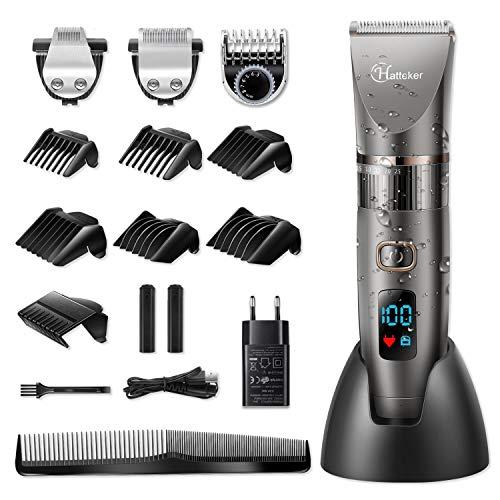 HATTEKER Cortapelos Hombre Maquina de Cortar el Pelo Cortadora de Pelo Barbero Electric Recortador de Barba y Precisión Waterproof