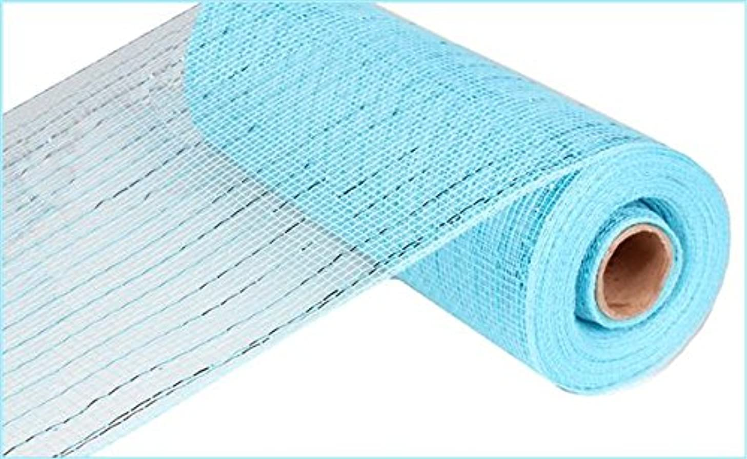 10 inch x 30 feet Deco Poly Mesh Ribbon - Value Mesh (Turquoise, Turquoise Foil)