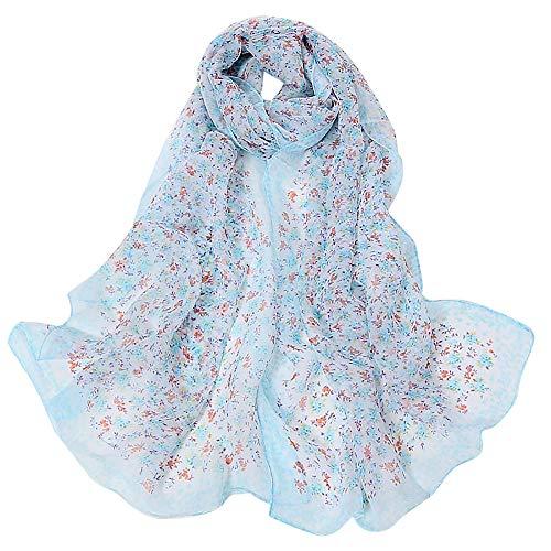 Yennuo Winter Small Floral Silk Scarves for Women Cozy Lightweight Chiffon Turban Females Evening Party Wrap Shawls