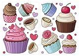dekodino Sticker mural cupcakes, tasses à café et coeurs jeu de 10 pièces déco
