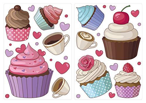 dekodino® Wandtattoo Cupcakes, Kaffeetassen und Herzen Set 10 Stück Wandsticker
