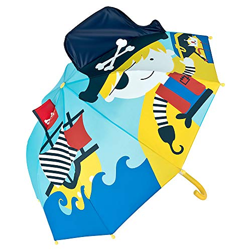 VON LILIENFELD® Ombrello Ragazzi Ragazze Pirata Corsaro Mare Bambini Leggero Stabile Colorato Motivo Fino a 8 anni