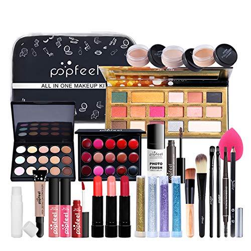 Juegos de Maquillaje para Mujer, Set de Maquillaje Profesional de 30 Piezas, Organizador de Maquillaje de Viaje Portátil - Kit de Cosméticos Completo Con Sombras de ojos Lápiz Labial Ocultador