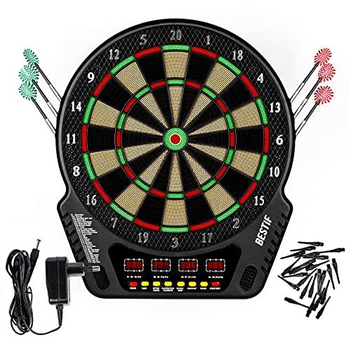 BESTIF Dartscheibe Elektronisch Dartboard 6 Pfeile LED Display Soundeffekte