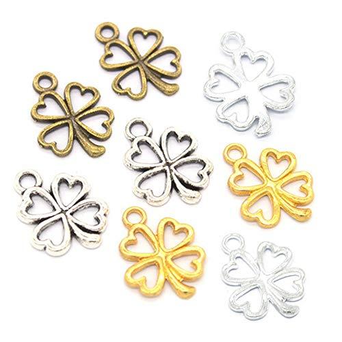 200 Stück gemischte Farbe Glückskleeblatt-Charms, Charms Anhänger für DIY Halskette Armband Basteln Schmuck Zubehör