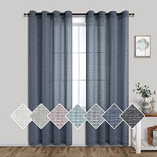 Pitalk Dark Blue Curtains 84 Inch Length for Bedroom 2 Panels Set Grommet Window Drapes Linen Look Semi Sheer Gauze Modern Curtains for Living Room Dining Country Farmhouse 52x84 Long Denim Navy Blue