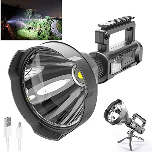 Rechargeable Spotlight, Super Bright 90000 High Lumens LED Spotlight Handheld Spotlight Flashlight Large Searchlight with Foldable Tripod for Camping, Hiking, Emergencies