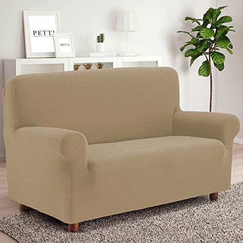 PETTI Artigiani Italiani Funda para sofá elástica y Funda para sillón, Disponible para sillones, 2,3 cm, 100 % Fabricada en Italia, Tela, Beige, 4 plazas (220 a 280 cm)