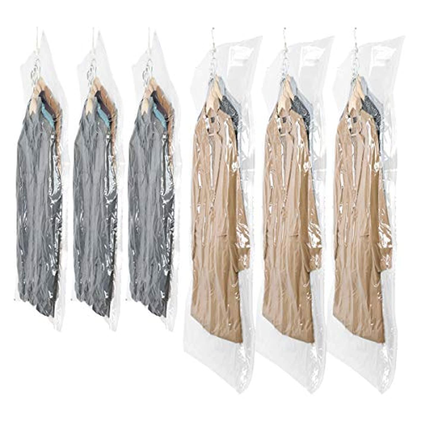 SunHorde Hanging Vacuum Storage Bags Space Saver Bags for Clothes, Pack of 6 (3 Large & 3 Medium), Clear Hanging Garment Bags for Closet