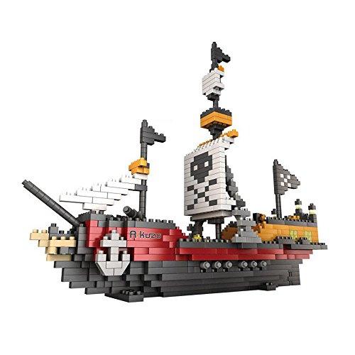Rikuzo Piratenschiff-Modellbaustein-Set, 780-teilig, Nano-Mikroblöcke, Diamant-DIY-Spielzeug