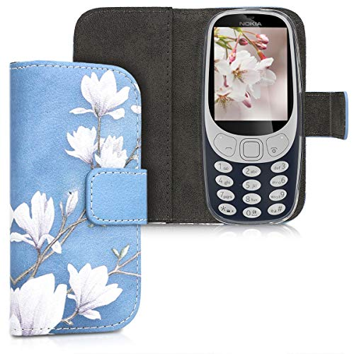 kwmobile Wallet Case Compatible with Nokia 3310 3G 2017 / 4G 2018 - PU Leather Flip Cover with Card Slots and Stand - Magnolias Taupe/White/Blue Grey