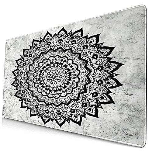 VINISATH Alfombrilla Gaming,Artístico Étnico Mandala Boho Yoga Medallón Flor de Loto Vintage Mármol,con Base de Goma Antideslizante,750×400×3mm